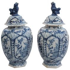Pair of Late 18th/Early 19th Century Delft Ribbed Covered Jars.