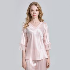 e3ae805e11 Ultra Soft Ladies Silk Top Nightwear Silk Pajamas - OOSilk  silk  sleepwear   nightwear