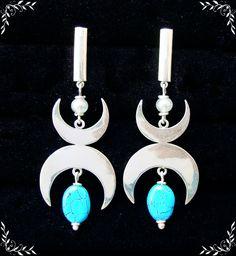 Brinco Luas com turquesa e pérolas em Prata 950 #joalheriaartesanal #handmade #brincos #earring #feitoamão