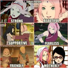Pretty much sums her up. Though they should have included loving for Sasuke...