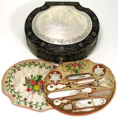 RARE Antique French Palais Royal Sewing Box, All MOP Tools w Enamel 18k Gold Marks, Music Box Photo credit: Antiques & Uncommon Treasure