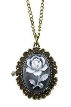 Delicate Rose Pocket Watch Necklace on HauteLook