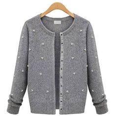 Women Long Sleeve Single Breasted Sweater Coat ($28) ❤ liked on Polyvore featuring outerwear, coats, cardigans, grey, single-breasted trench coats, gray coat, gray sweater coat, grey coat and leather-sleeve coats
