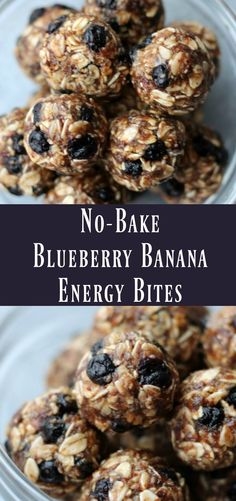 Healthy No-bake Blueberry Banana Energy Bites. Make-ahead snack recipe to make on meal prep day!