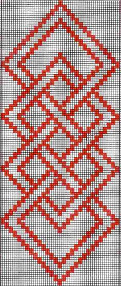 Hardanger Embroidery Patterns warp float knot - A full tutorial for this technique with step-by-step photos and video can be seen here. Here are the charts for two of the projects I presented in the Beyond Bands-Weaving Wide post. The first patt… Bargello Patterns, Tapestry Crochet Patterns, Weaving Patterns, Cross Stitch Borders, Cross Stitch Designs, Cross Stitching, Cross Stitch Patterns, Hardanger Embroidery, Cross Stitch Embroidery