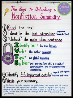 Summarizing Nonfiction Text Anchor Chart- The author modeled how to write a nonfiction summary after reading a social studies lesson from a textbook. Summarizing Anchor Chart, Summary Anchor Chart, Ela Anchor Charts, Reading Anchor Charts, Summary Writing, Writing Ideas, 5th Grade Reading, Teaching Reading, Guided Reading