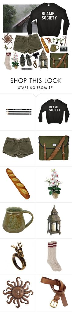 """Hang on to the good days"" by purpleghost ❤ liked on Polyvore featuring INDIE HAIR, Current/Elliott, Sandqvist, Nearly Natural, Cyan Design, Dr. Martens, CASSETTE, Pier 1 Imports and H&M"