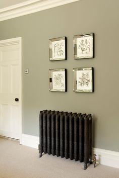 Good hallway colours Farrow and Ball - bedroom wall in Pigeon Estate Emulsion, door and trim in White Tie Estate Eggshell. Living Room Green, My Living Room, Living Room Decor, Bedroom Decor, Wall Decor, Bedroom Ideas, Frames Decor, Men Bedroom, Wood Bedroom