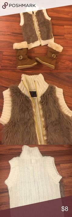 Faux fur vest. Boots have been sold!🤗 Cream & gold how far sweater vest. Perfect condition! Jackets & Coats Vests