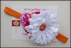 My Little Clementine Darling Dahlia and Fabric by mandikinzklipz, $12.95