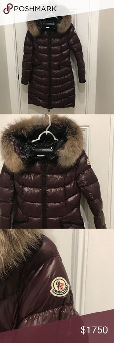 Moncler Shiny Quilted Down Coat w/ Faux Fur Hood 0 Moncler Shiny Quilted Down Coat w/ Faux Fur Hood in Size 0. Full length zip front long sleeve. Angle side zip pockets. Nylon self and lining. Down/feather fill. Worn only once and in mint like-new condition. No flaws! Moncler Jackets & Coats Puffers