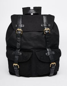 Image 1 of ASOS Military Backpack In Black Canvas With Contrast Straps