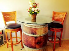Wine Barrel Tables | Upcycle That - for the back porch, we could cut it to whatever height we want and use a plexiglass top.