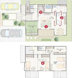 中庭隣接リビング。家事ラク動線。リビングポケット。フリースペース。 Sims, House Layouts, House Plans, Floor Plans, Flooring, How To Plan, Architecture, House Styles, Ideas