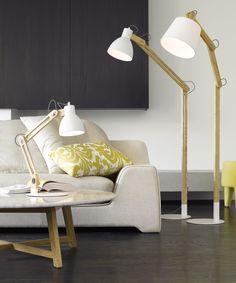white and wooden floor lamp; beacons lighting.