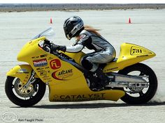 July 17, 2005 is the day Susan Robertson became the world's fastest woman in open wheeled motorcycle racing posting 205.345mph run on the race course at El Mirage, California.