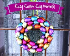 This is sooooo cute! I might need to make a couple of these! Easy Easter Egg Wreath from Frugal Upstate Spring Wreaths, Summer Wreath, Easter Ideas, Easter Crafts, Theme Parties, Party Themes, Moss Wreath, Flip Flop Wreaths, Basket Decoration