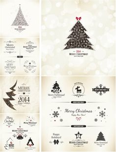 Decorative Christmas cards and design elements vector