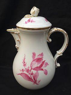 Meissen Porzellan Kaffeekanne  Blumenbuketts Blüten Pfeifferzeit  1924 2