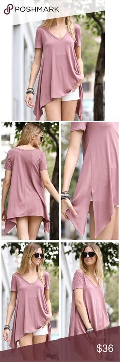 """Dusty Pink Tapered Hem Tunic Top A dark dusty pink tunic featuring a v neckline and tapered hem. Perfect to pair with your favorite pair of shorts, jeans or leggings! Made of Rayon/ spandex blend.    Measurements  Small: Bust 36""""/ length 25""""  Medium: Bust 38""""/ length 25.5"""" Large: Bust 40""""/ length 26"""". Bchic Tops Tunics"""
