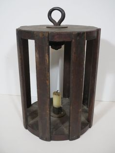 Rare & Unusual Early 19th C. New England Wooden Cage Lantern Candle Holder #Americana