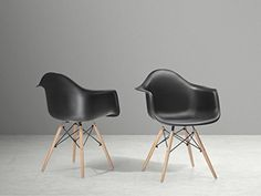 nice Charles Eames Replica Arm Chair - Dining Chair - Plastic Seat - Black - ELLIS