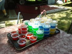 Jello shots. Replace the cold water in the jello recipie with your favorite alchohol. Like Tequila with lime jello, Jack Daniels wit Lemon jello, Vodka with Orange jello. You get the idea. You can get the cups with covers at Olindo or Sams club.