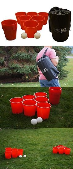 Other Backyard Games 159081: Giant Yard Pong W/ Huge Solo Cups Carrying Case Outdoors Backyard Game Tailgate BUY IT NOW ONLY: $55.49
