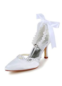 Chic Satin Upper Closed Toe Stiletto Heels Bridal Shoes With Pearls