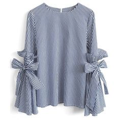 Chicwish Stripes Charisma Top with Bell Sleeves (€36) ❤ liked on Polyvore featuring tops, blue, ruffle top, blue striped top, blue top, flared sleeve top and flutter-sleeve top