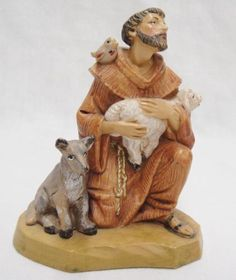 Fontanini-St-Francis-of-Assisi-Figurine-with-Bird-Dog-Lamb-649-Italy-1994