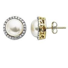 Image result for pearl and diamond studs