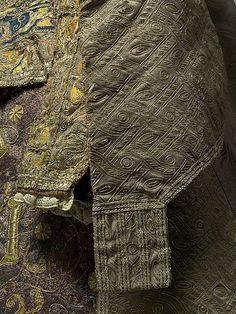 late 16th century women's dress ensemble, Spanish, made of silk and linen, The Metropolitan Museum of Art (detail)