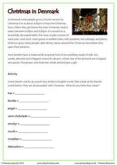 PrimaryLeap.co.uk - Reading comprehension - Christmas in Denmark Worksheet