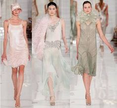 Ralph Lauren Spring 21012 - Featured flapper style, shift dresses, fluted hemlines, soft muted colours, elaborate beading & feathers. #Fashion #1920s