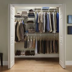 For A's closet. The lowest hanging rod and shoe shelf placement are great, lower the mid-height rod, add more shelves over lowest rod.