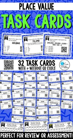 Grab these 32 Place Value Task Cards which include reading, writing, and comparing larger multi-digit whole numbers to help your students review place value skills. Perfect for review, Scoot game, math center, assessment tool, or test prep!