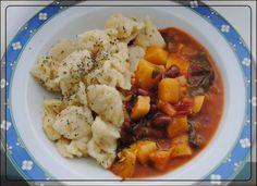 Gemüsegulasch mit Nockerl, vegan Zutaten: 1 Grundrezept Nockerlteig, siehe HIER 1 große Zwiebel, gewürfelt etwas Öl zum braten ...