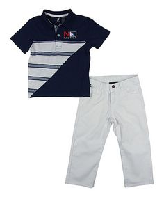 Another great find on #zulily! Blue Spell Polo & White Twill Pants - Infant, Toddler & Boys by Nautica #zulilyfinds