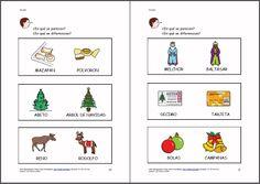 MATERIALES - La Navidad (en color).  Libro con diferentes actividades sobre la navidad: vocabulario y fichas sobre el tema principalmente.   http://www.catedu.es/arasaac/materiales.php?id_material=1095