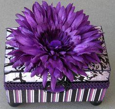 Lavender Stripe Keepsake Box by funkyart08 on Etsy, $30.00