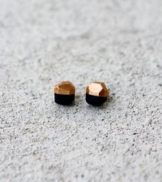 black / copper geo earrings