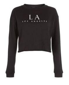 Black LA Cropped Sweater  | New Look