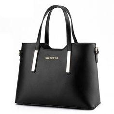Women Top-handle Bag Shoulder Bags PU Leather Handbags Solid Tote Bolsas  Feminina Borse Female 1781da0694876