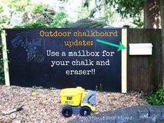 GREAT IDEA - Outdoor mailbox to store chalk & erasers. Keeps them dry too! You could even spray paint the mailbox a bright cheerful color or to go with your outdoor colors.