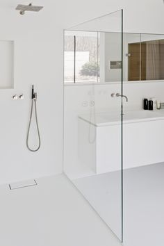 Minimal white bathroom