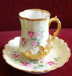 Limoges Porcelain Identification and Value Guide: Redon Limoges Chocolate Cup… Antique Dishes, Vintage Dishes, Vintage Cups, Vintage China, Antique China, Teapots And Cups, Chocolate Cups, China Tea Cups, My Cup Of Tea