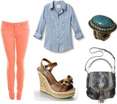 How to wear colored denim - Outfit 1: Orange jeans, chambray shirt, espadrille wedges, cross-body bag, turquoise ring