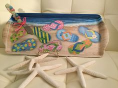"""Melamine """"Flip Flop"""" Serving Platter w/ Coordinating Jeweled Hand-Beaded Cheese Knife / Spreader. Summer Entertaining. Beach Decor. Coastal by AngelBellaCreations on Etsy"""