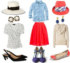 """""""Classic to Casual: Red Skirt"""" by waterfirerocks on Polyvore"""